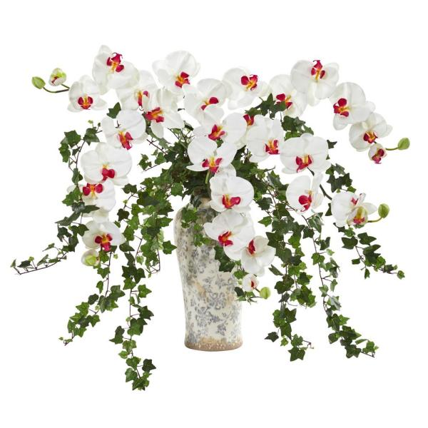 Nearly Natural Indoor Phalaenopsis Orchid and Ivy Artificial Arrangement in Urn