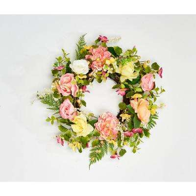24 in. Rose and Peony Wreath on Natural Twig Base