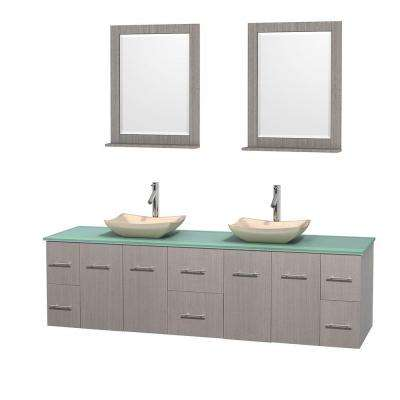 Centra 80 in. Double Vanity in Gray Oak with Glass Vanity Top in Green, Ivory Marble Sinks and 24 in. Mirrors