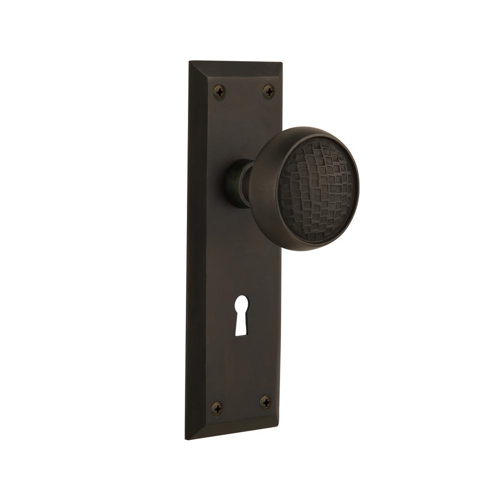 Nostalgic Warehouse New York Plate Interior Mortise Craftsman Door Knob In  Oil Rubbed Bronze