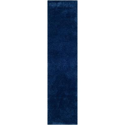 Milan Shag Navy 2 ft. x 12 ft. Runner Rug