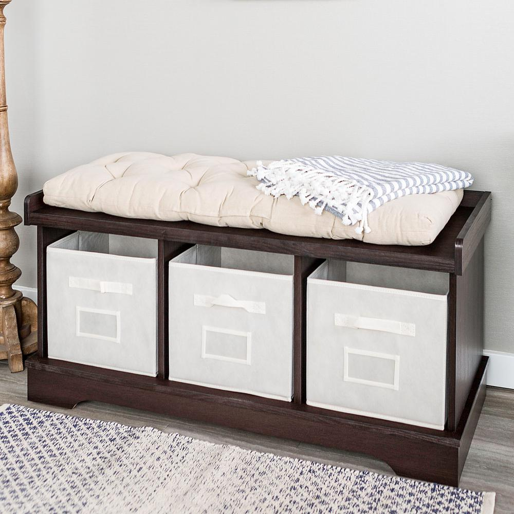 Walker Edison Furniture Company Espresso Storage Bench