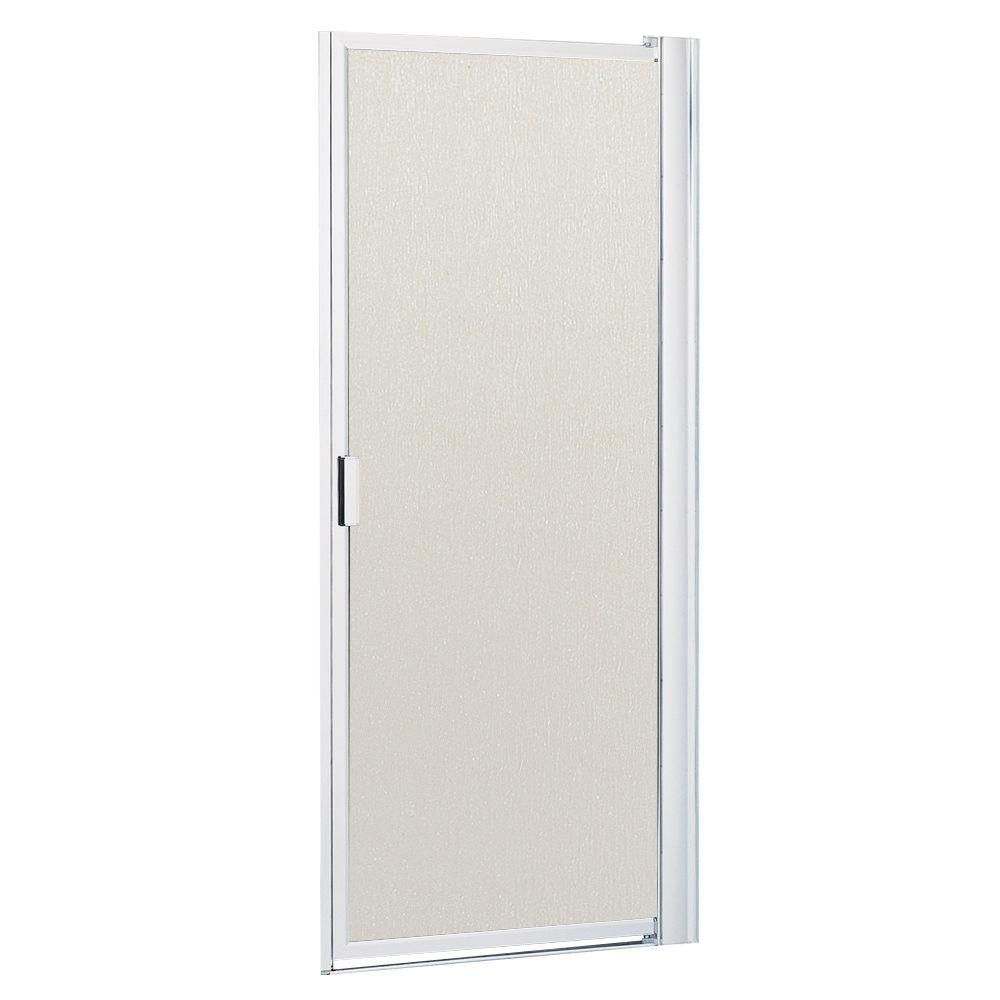 3dba8b970fd Contractors Wardrobe. 26-1 8 in. to 28-1 8 in. x 63-1 2 in. Framed Pivot  Shower Door in Bright Clear with Rain Glass