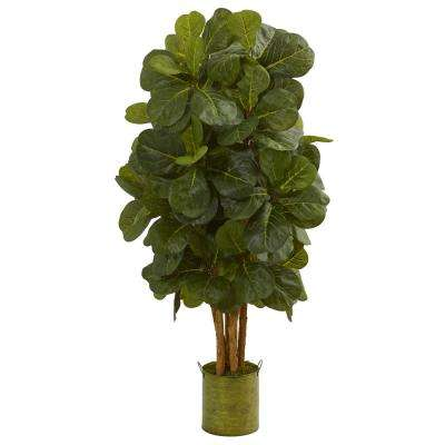 4.5 ft. High Indoor Fiddle Leaf Artificial Tree in Green Tin Planter