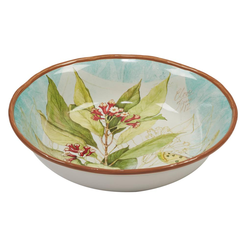 Herb Blossoms Multi-Colored 13 in. x 3 in. Serving/Pasta Bowl