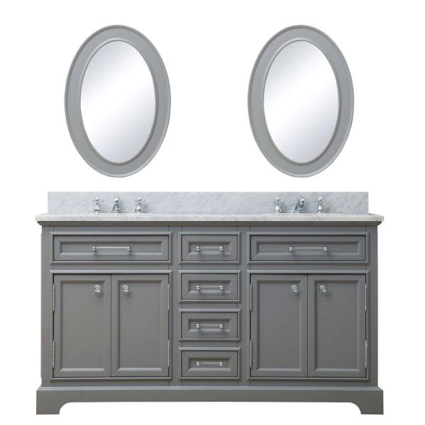 60 in. W x 21.5 in. D Vanity in Cashmere Grey with Marble Vanity Top in Carrara White, Mirror and Chrome Faucets