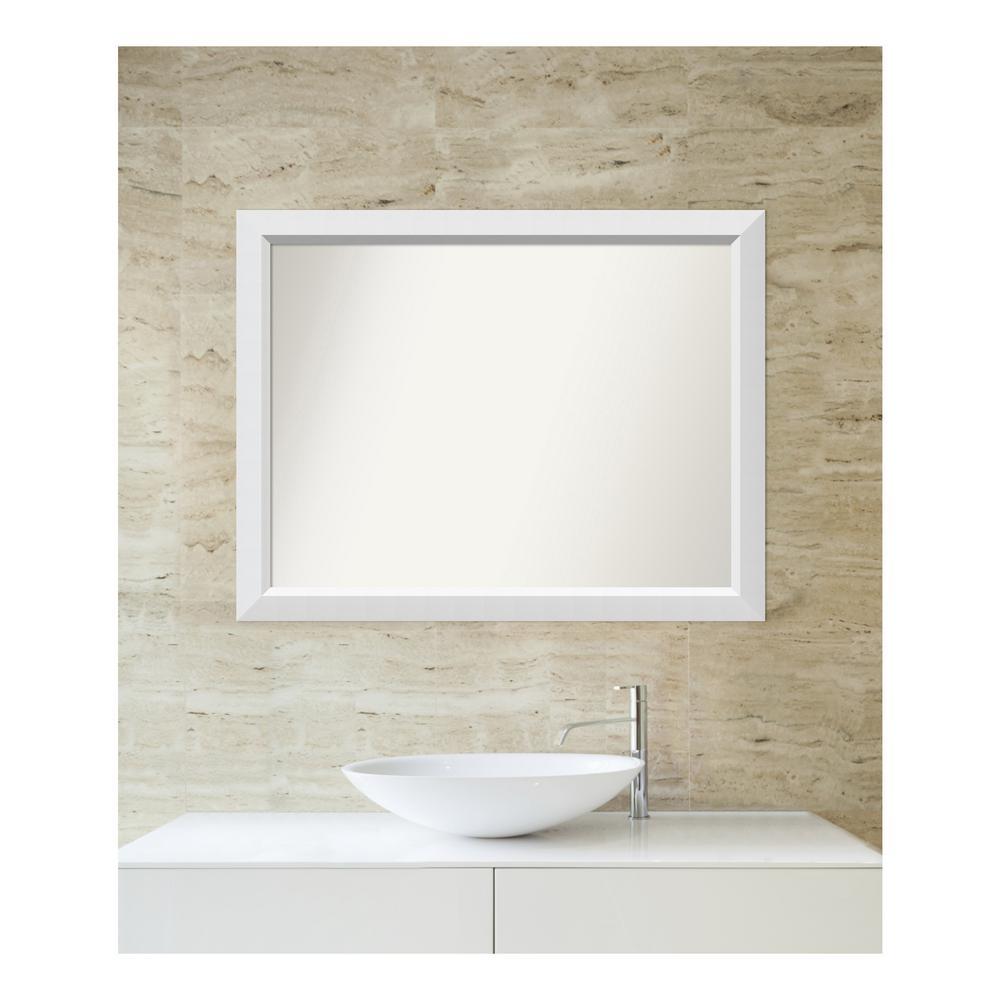 Medium Rectangle White Modern Mirror (28 in. H x 36 in. W)