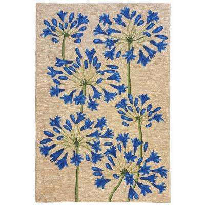 Sinclair Delicate Flower Natural 8 ft. x 10 ft. Indoor/Outdoor Area Rug