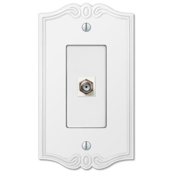 Charleston 1 Gang Coax Composite Wall Plate - White