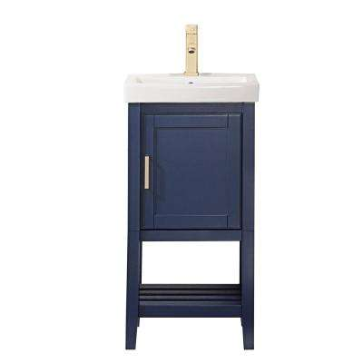 17.5 in. Bath Vanity in Blue with Ceramic Vanity Top in White with White Basin
