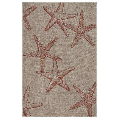 Captiva Coral / Beige 7 ft. 9 in. x 9 ft. 5 in. Rectangle Indoor/Outdoor Area Rug