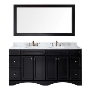 Virtu USA Talisa 72 inch W x 22 inch D Vanity in Espresso with Marble Vanity Top in White with White Basin and Mirror by Virtu USA