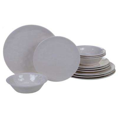 Melamine 12-Piece Cream Dinnerware Set