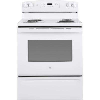 '30 in. 5.0 cu. ft. Electric Range in White' from the web at 'https://images.homedepot-static.com/productImages/5447405a-b75f-4944-8792-fb110700d6d7/svn/white-ge-single-oven-electric-ranges-jbs30dkww-64_400_compressed.jpg'