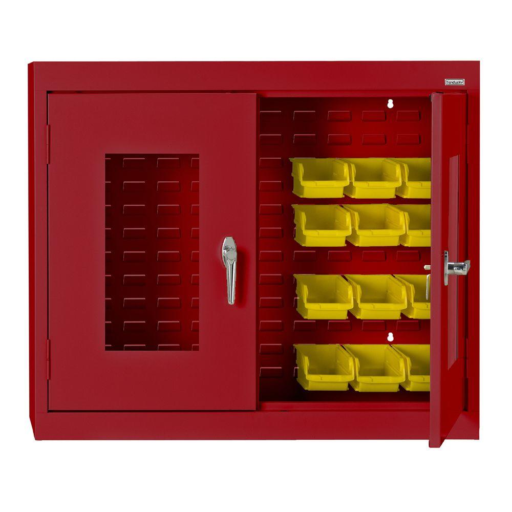null 30 in. H x 36 in. W x 12 in. D Clear View Bin Wall Cabinet in Red