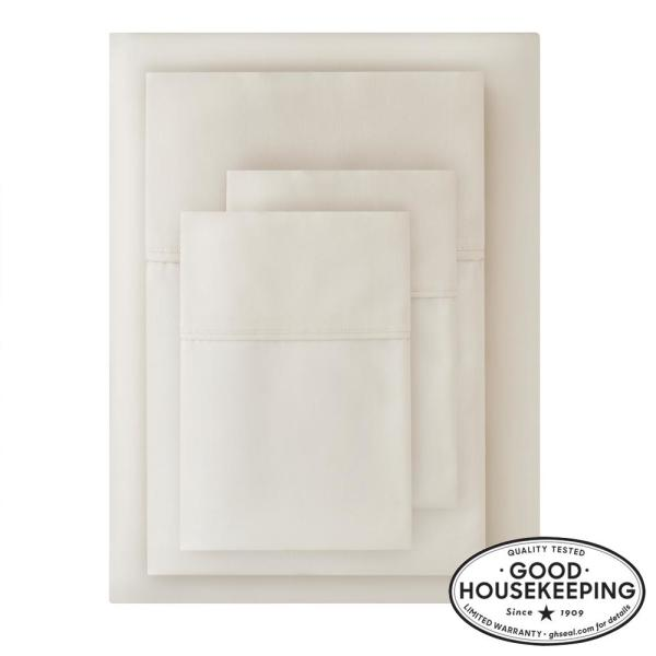 400 Thread Count Performance Cotton Sateen 4-Piece King Sheet Set in Ivory