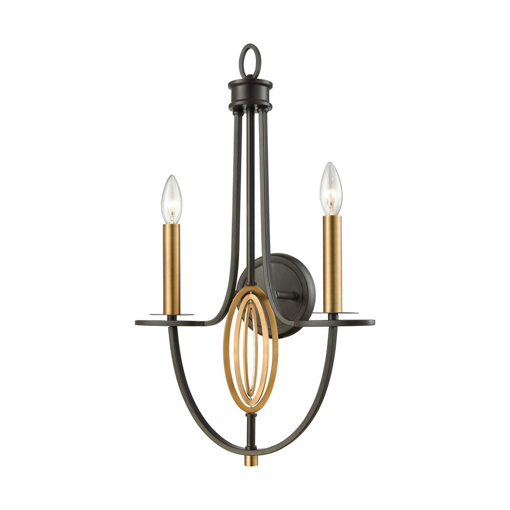 Dione 2-Light Oil Rubbed Bronze with Brushed Antique Brass Accents Sconce