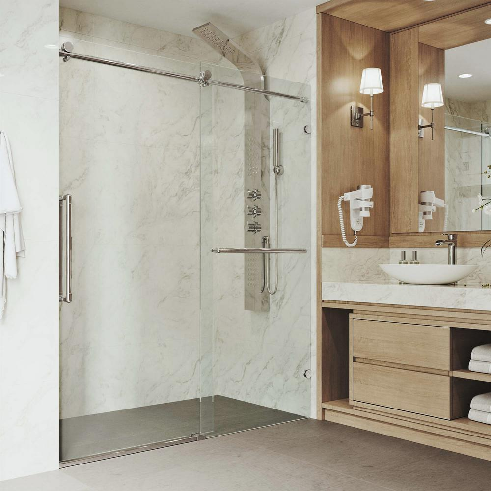 VIGO Ferrara 71-1/2 to 72-1/2 in. x 74 in. Frameless Sliding Shower Door in Stainless Steel with Clear Glass and Handle was $899.9 now $674.9 (25.0% off)