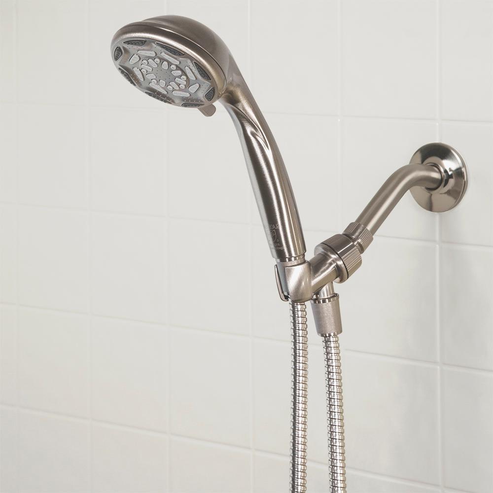 6-Spray 4 in. Wall Mount Handheld Shower Head in Brushed Nickel