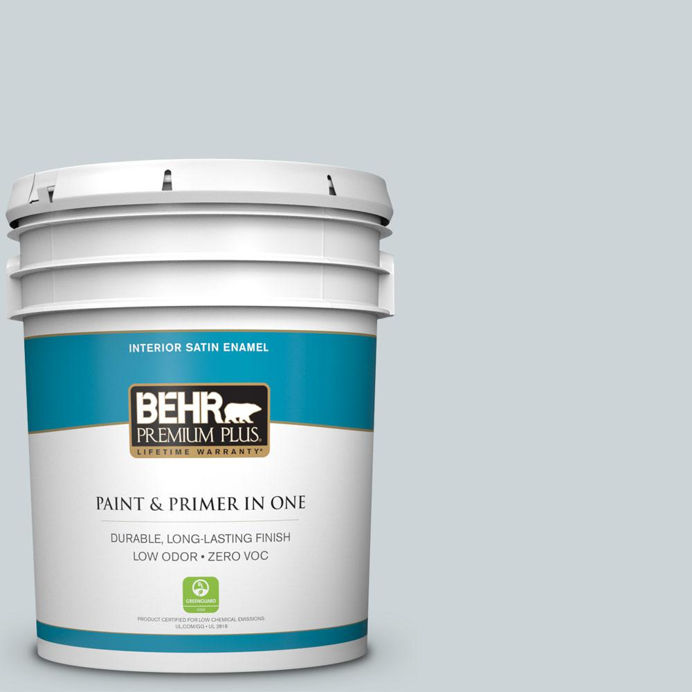 BEHR Premium Plus 5-gal. #ECC-34-1 Pacific Mist Zero VOC Satin Enamel Interior Paint