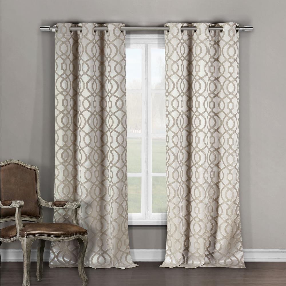 DUCK RIVER TEXTILE Geometric Taupe Polyester Blackout Grommet Window Curtain 36 in. W x 96 in. L (2-Pack)