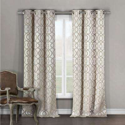 Geometric Taupe Polyester Blackout Grommet Window Curtain 36 in. W x 96 in. L (2-Pack)