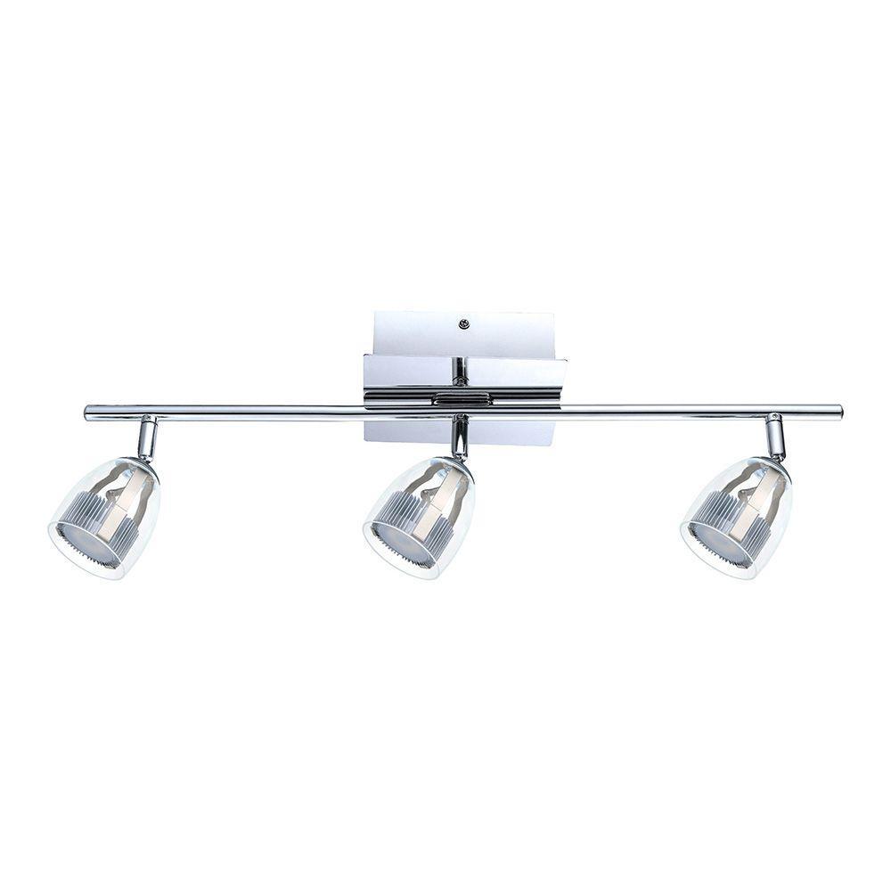 2 Ft Track Lighting Kit: Eglo Pecero 2 Ft. 3-Light Chrome LED Track Light-93743A
