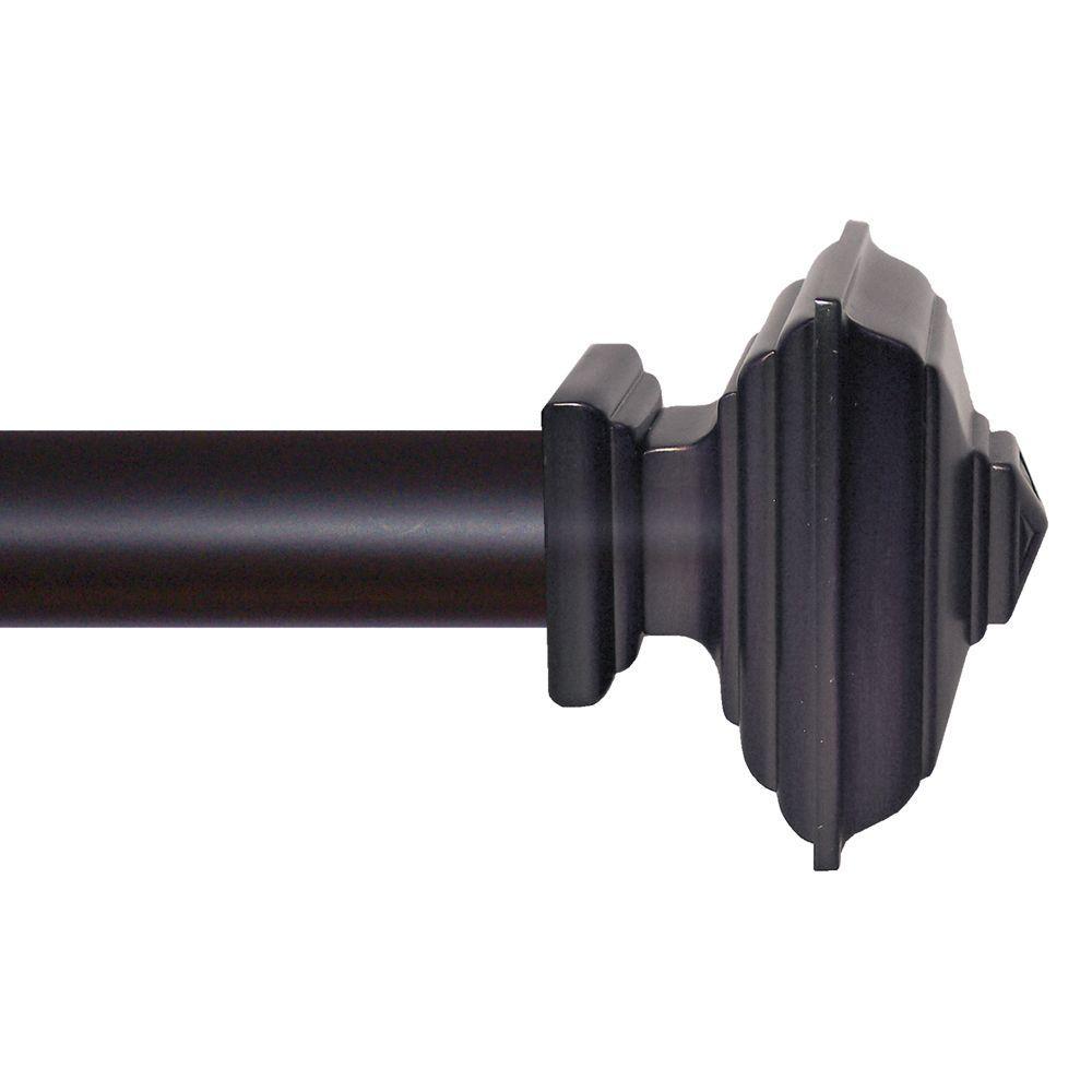 Matte Black Square Architectural Metal Drapery Rod