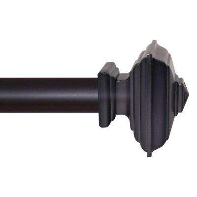56 in. - 96 in. Matte Black Square Architectural Metal Drapery Rod Set