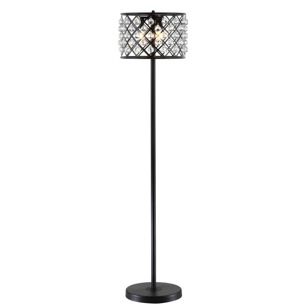 Ok Lighting 61 In Silver Petal Crystal Floor Lamp Ok