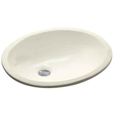 Caxton Vitreous China Undermount Bathroom Sink in Biscuit with Overflow Drain