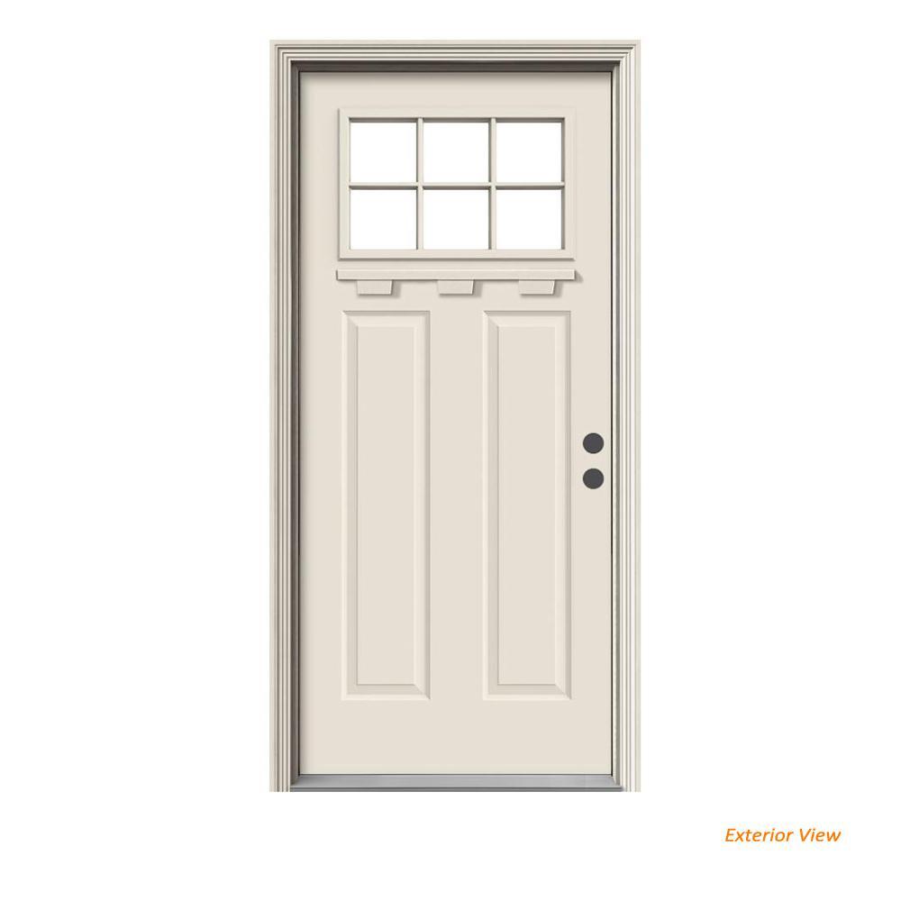 """"""" 36 in. x 80 in. 6 Lite Craftsman Primed Steel Prehung Left-Hand Inswing Front Door w/Brickmould and Shelf"""""""