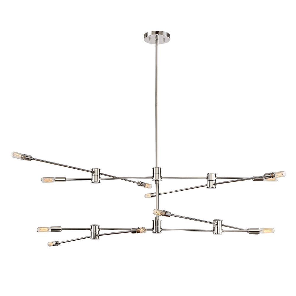 12-Light Polished Nickel Chandelier