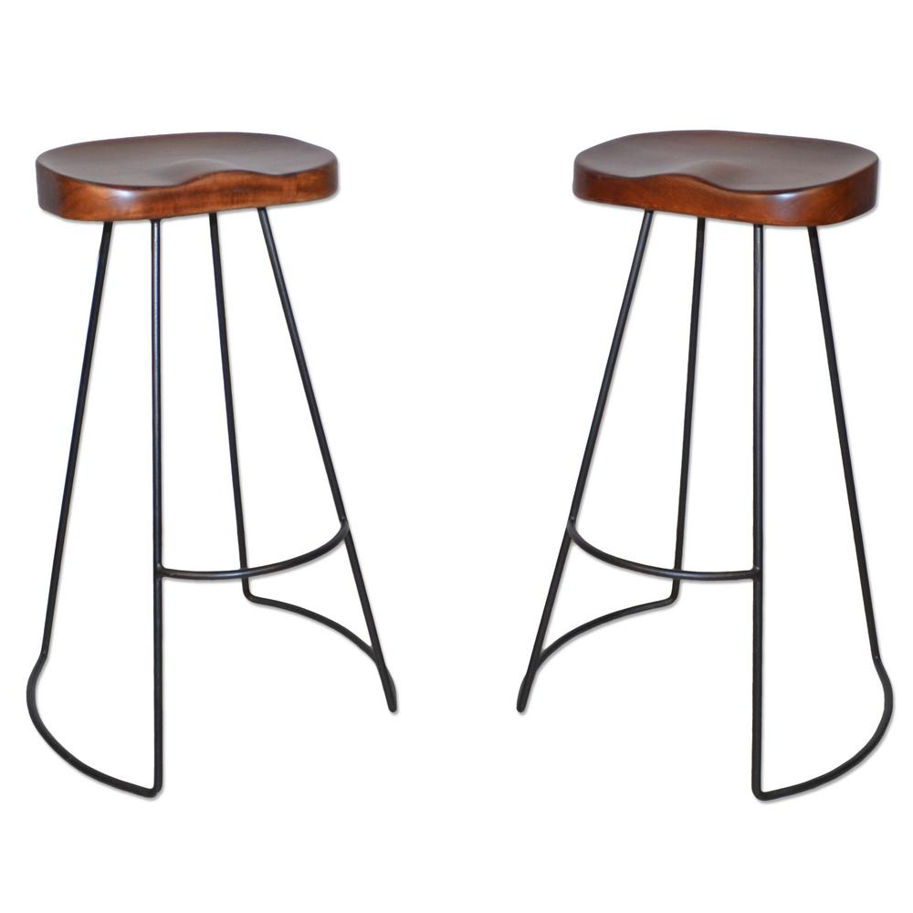 Carolina Cottage Saga 31 In Chestnut Bar Stool Set Of 2
