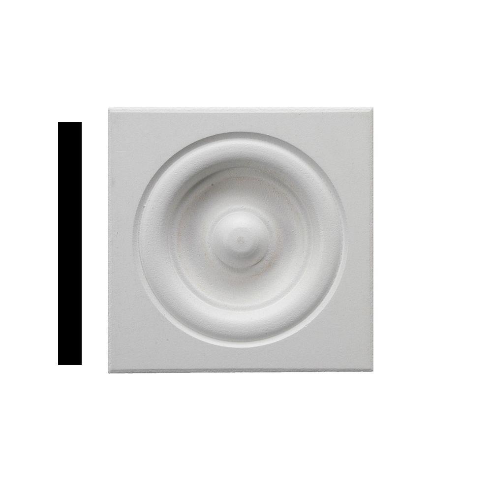3/4 in. x 3 in. x 3 in. Primed MDF Rosette Corner Block Moulding