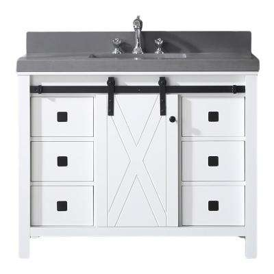Dallas 42 in. W x 22 in. D Bathroom Vanity in White with Granite Countertop in Absolute Black