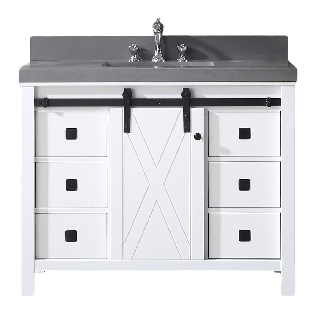Dallas 42 in. W x 22 in. D Bathroom Vanity in White with Granite Countertop in Absolute Black