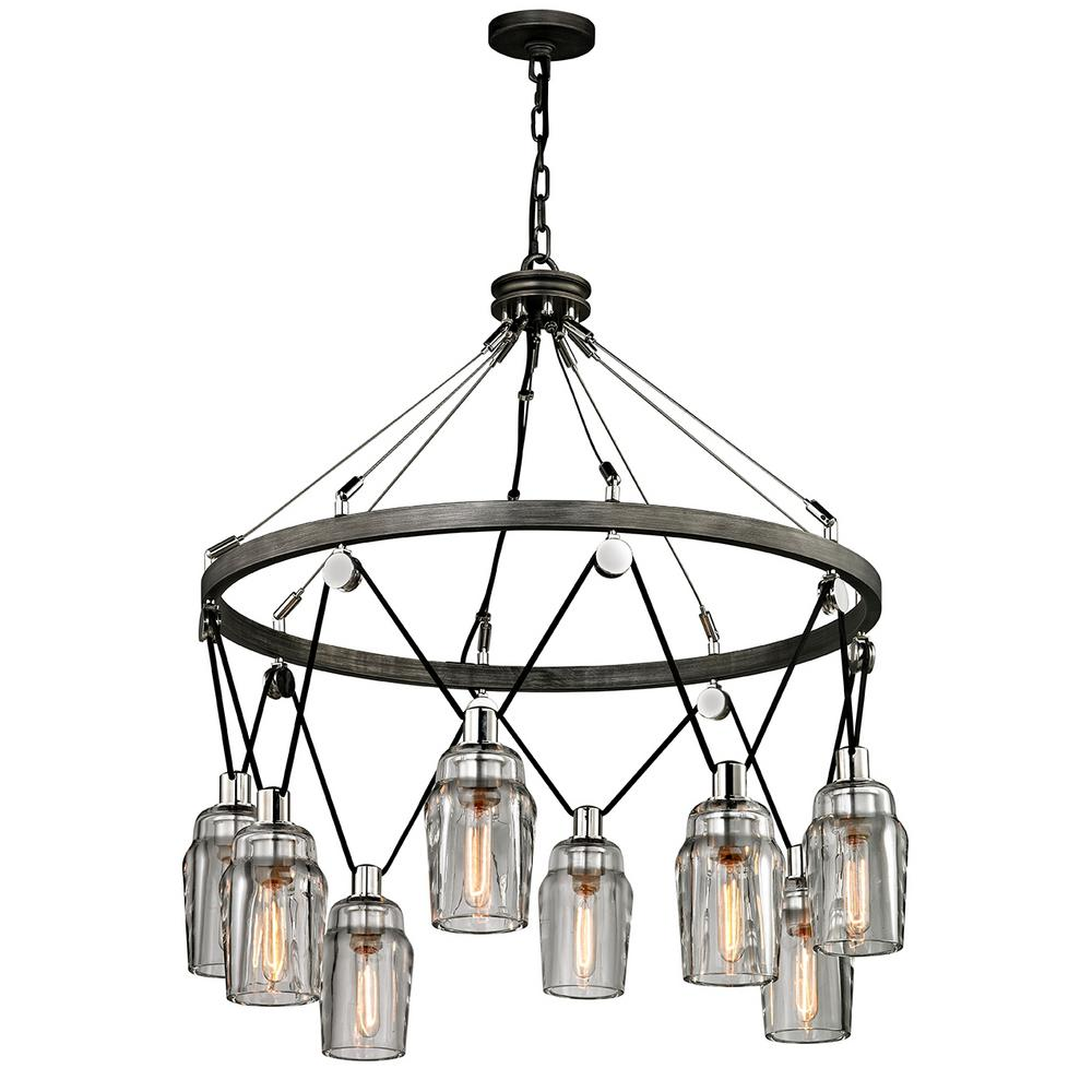 Troy Lighting Citizen 8-Light Graphite and Polished Nickel Pendant with Clear Pressed Glass Shade