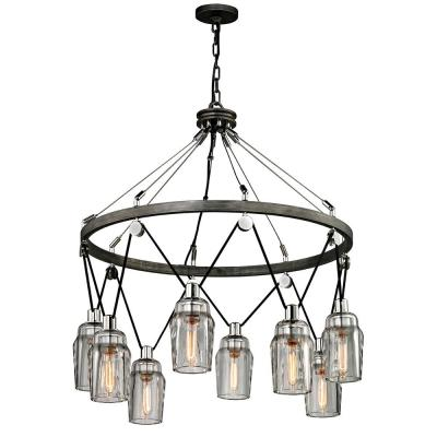 Citizen 8-Light Graphite and Polished Nickel Pendant with Clear Pressed Glass Shade