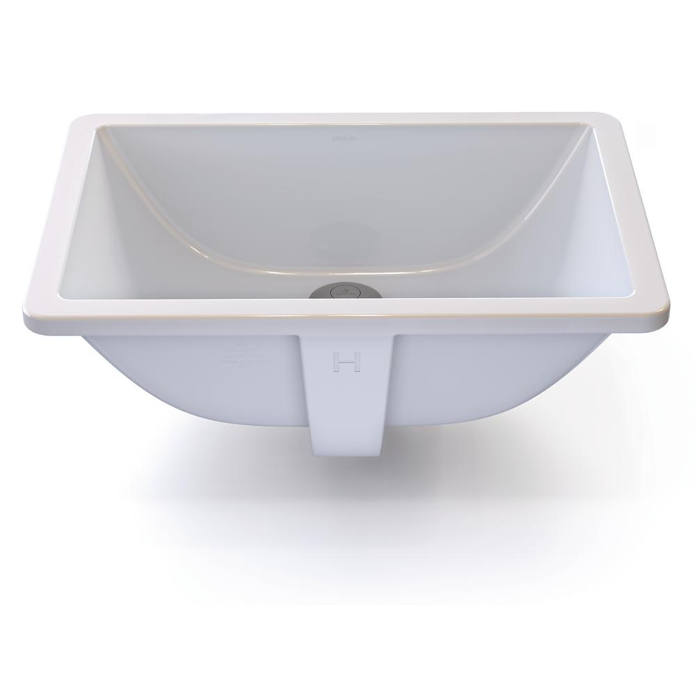 Classically Redefined Rectangular Undermount Bathroom Sink in White