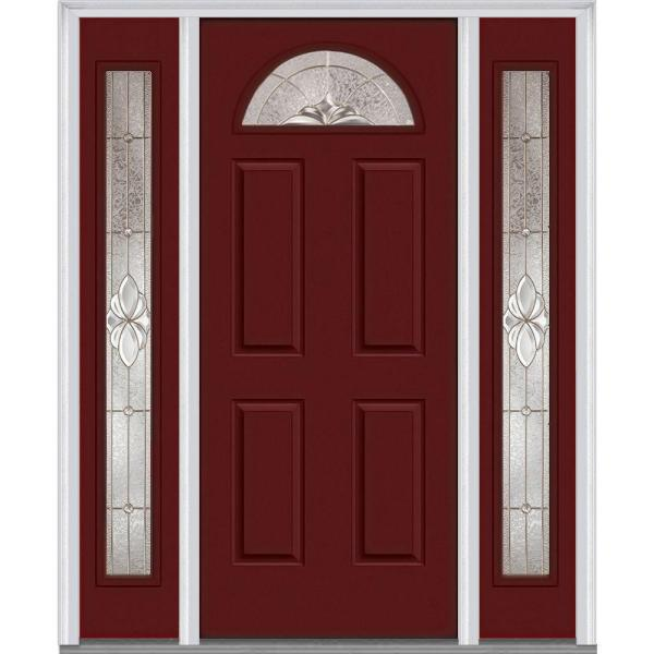 Mmi Door 68 5 In X 81 75 In Heirlooms Right Hand Inswing 1 4 Lite Decorative Painted Steel Prehung Front Door With Sidelites Z014715r The Home Depot