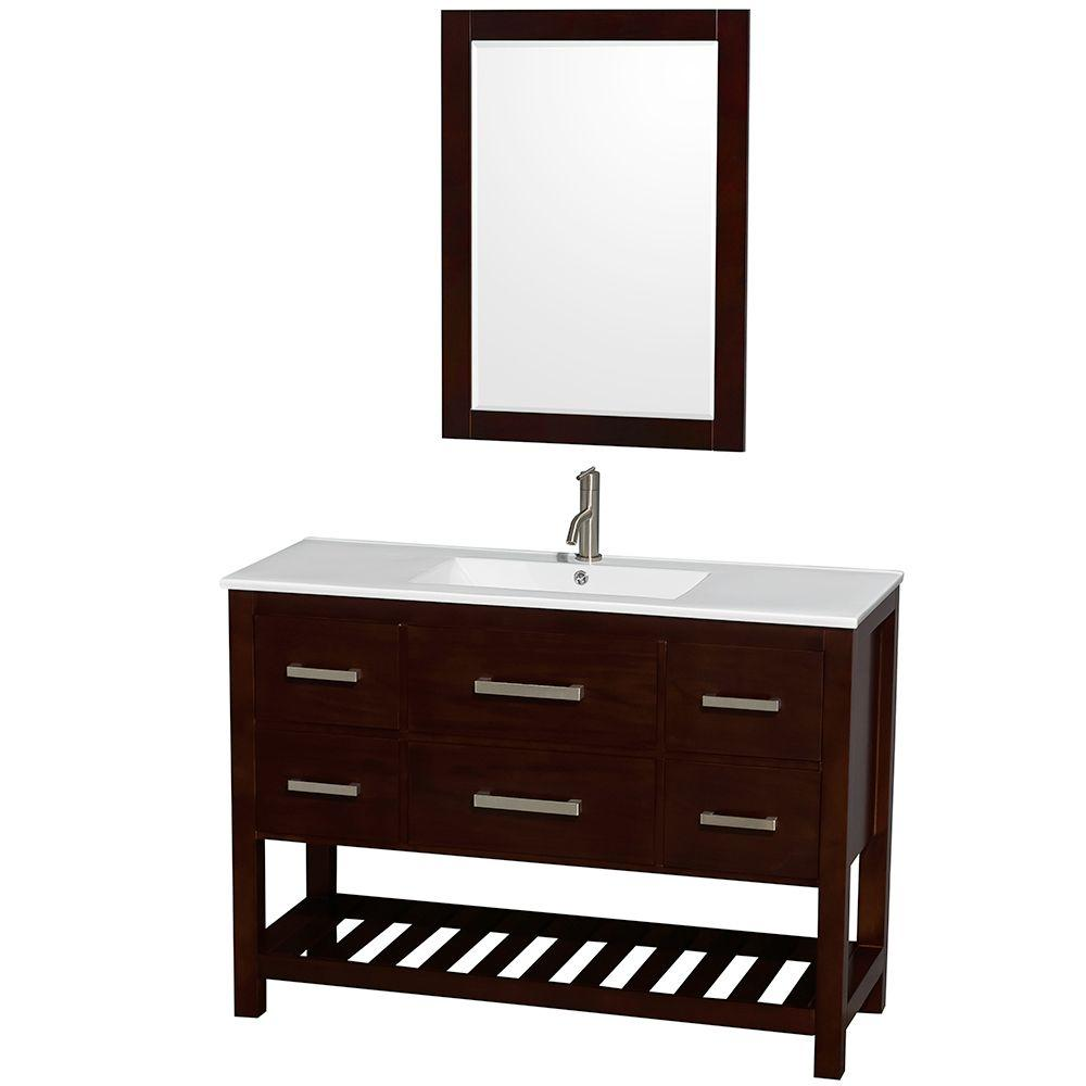 Wyndham Collection Natalie 48 in. Vanity in Espresso with Porcelain Vanity Top in White, Integrated White Sink and 24 in. Mirror