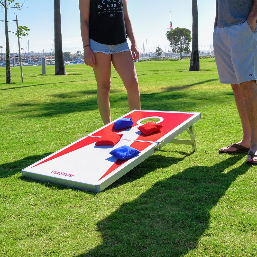 Pleasing Gofloats 4 Ft X 2 Ft Red And Blue Edition Cornhole Pro Theyellowbook Wood Chair Design Ideas Theyellowbookinfo