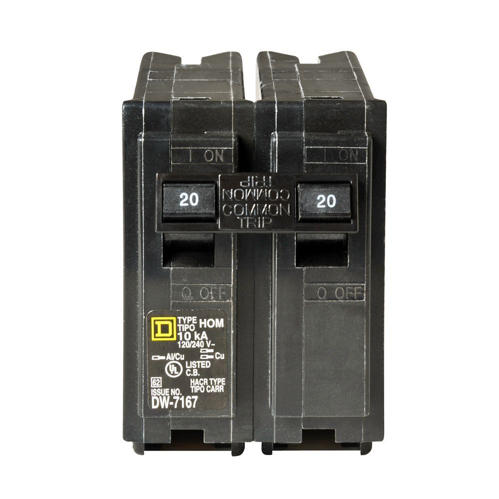 square d homeline 20 amp 2 pole circuit breaker hom220cp the home depot. Black Bedroom Furniture Sets. Home Design Ideas