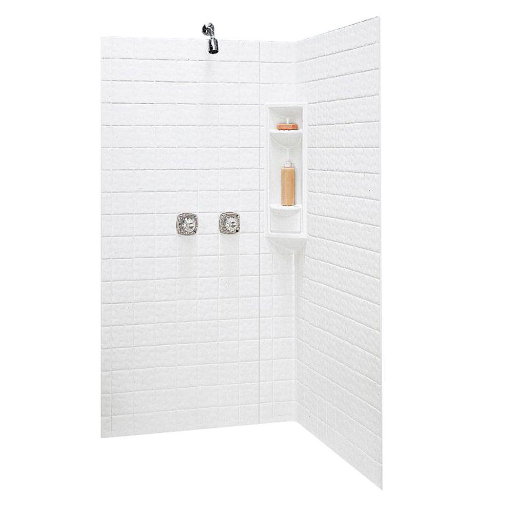 Swan 38 in. x 38 in. x 71-5/8 in. 3-piece Easy Up Adhesive Neo Angle Shower Wall Kit in White