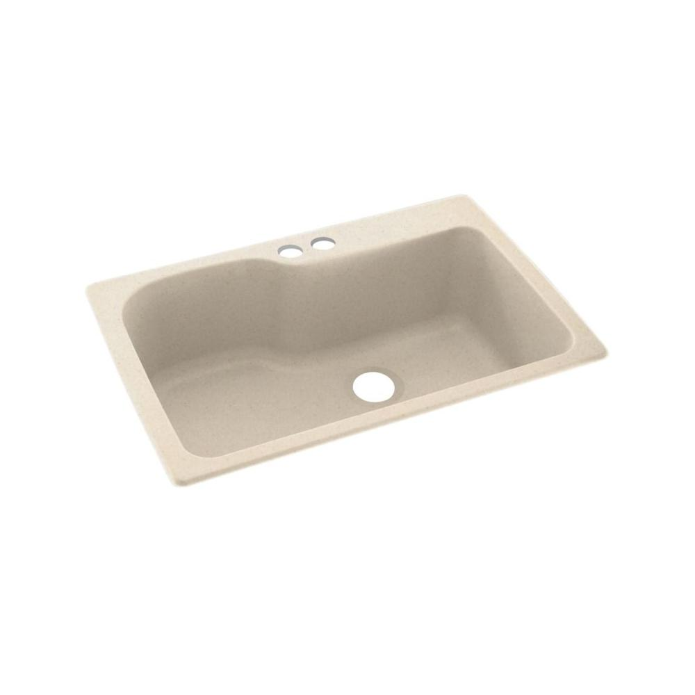 Dual Mount Solid Surface 33 In X 22 2 Hole Single Bowl Kitchen Sink Tahiti Sand