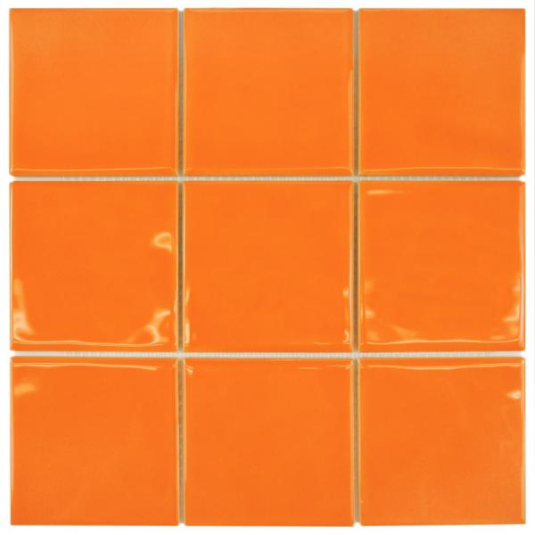 Twist Square Orange Sunset 11-3/4 in. x 11-3/4 in. Ceramic Mosaic (9.79 sq. ft. /Case)