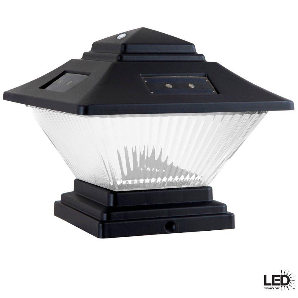 Solar Black Dual Mount Integrated LED Post Cap Deck Lights (2-Pack)