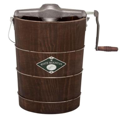Manual 6 Qt. Green and Brown Hand Crank Ice Cream Maker