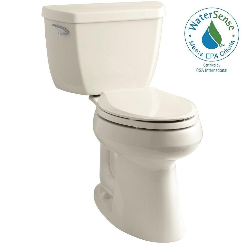 KOHLER Highline Classic Comfort Height 10 in. Rough-In 2-Piece 1.28 GPF Single Flush Elongated Toilet in Almond